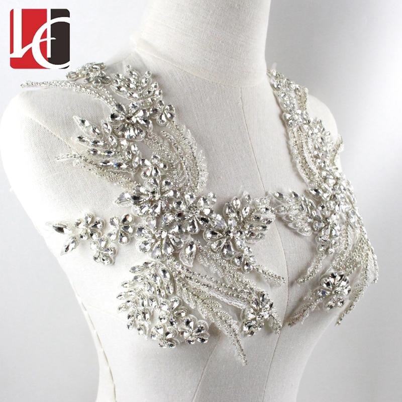 BlingNew Design Customized Crystal Wedding Accessory Rhinestone Applique For Bridal Wedding Dress