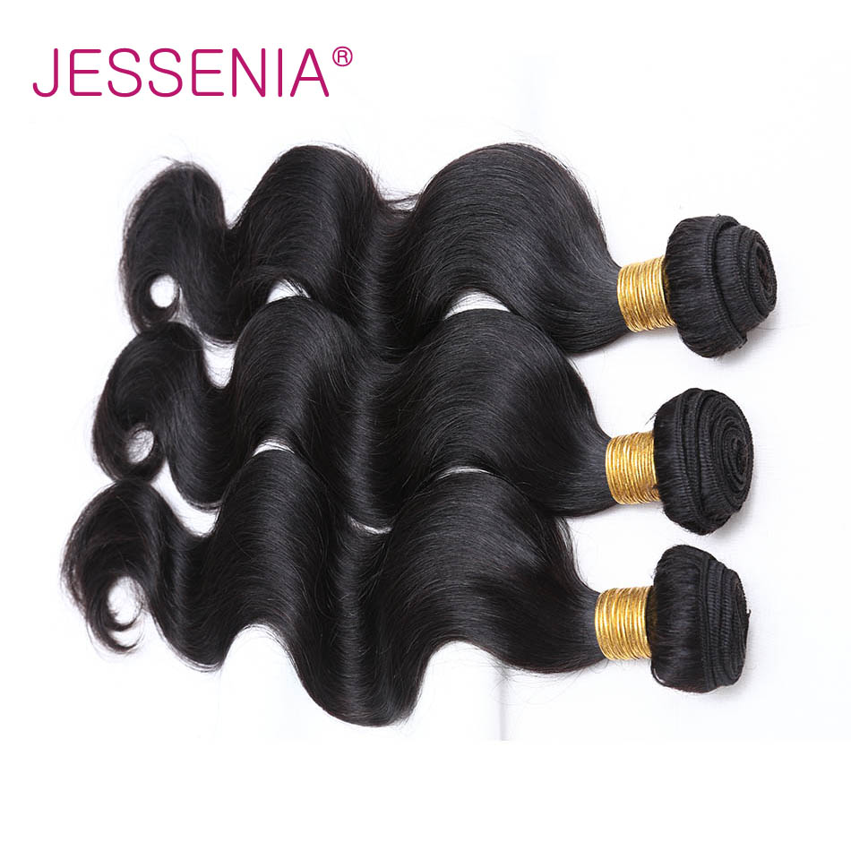 JESSENIA Human Hair Bundles 3Pcs Peruvian Body Wave 8-26 Weave Natural Color Non Remy Hair Can Be Permed No Shedding Free Ship