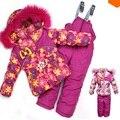 DT0157 de la Muchacha Traje de Esquí Sistema Del Cabrito Ropa Conjuntos de ropa de Invierno Al Aire Libre Sistema de la ropa Caliente Fur Coat Jacket + Bib Pants + Vest traje