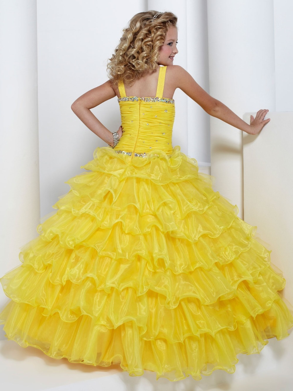 Bright Yellow Organza Layers Straps Beads Flower Girl Dresses