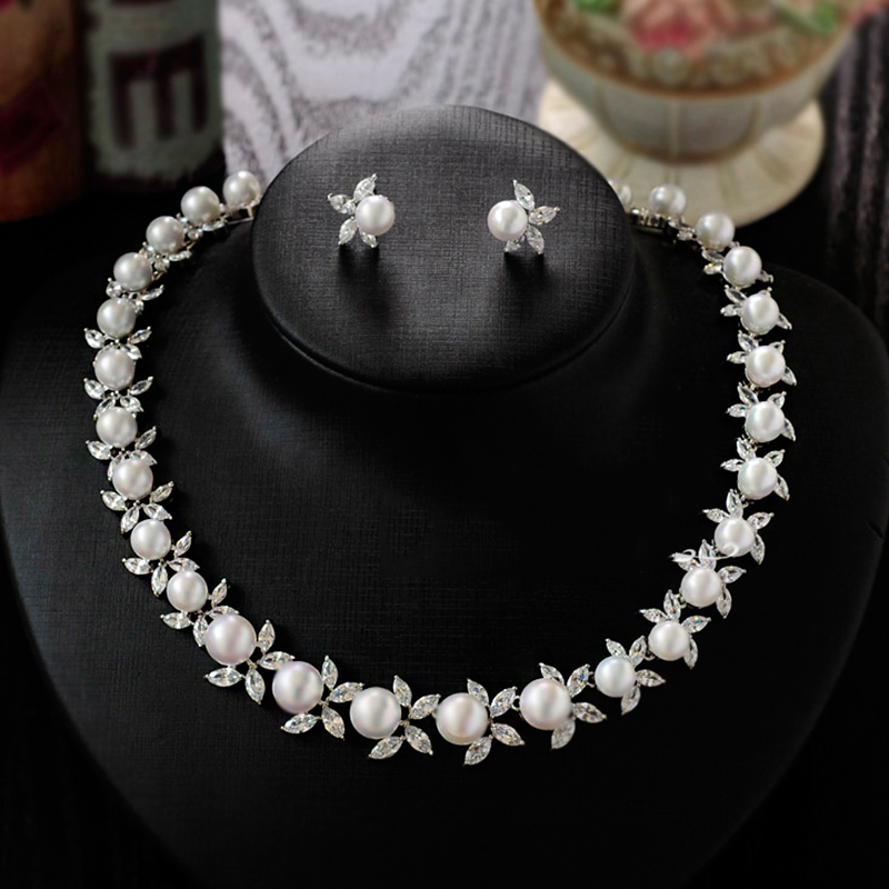Women Silver Color Crystal Flower Pearl String Bridal Jewelry Sets Earrings Necklace Wedding Jewelry Accessories Sets a suit of graceful faux pearl flower shape necklace and earrings jewelry for women