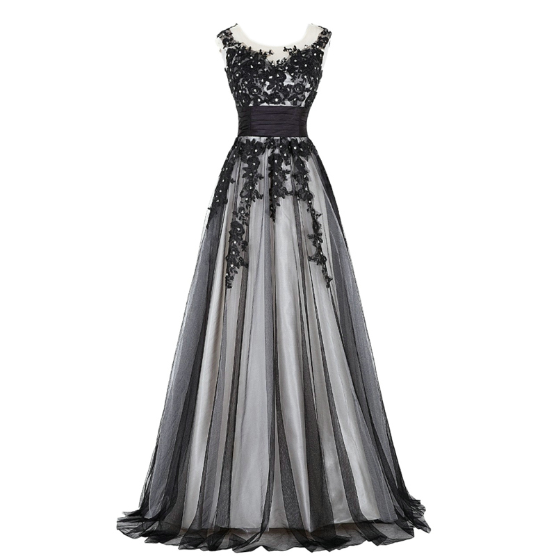 Alexzendra Black Long Scoop A Line   Prom     Dresses   Simple Applique Beaded Evening   Dress   Plus Size Party   Dresses