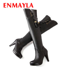ENMAYER Size 34-47 Over the Knee Boots for Women Sexy Tassel High Heels Long boots Winter Shoes Round Toe Platform Knight Boots