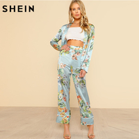 SHEIN Tropical Print Blazer Pants Co Ord With Slit Palazzo Pants Set Vacation Womens Sets Two