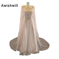 Fashion Dubai Evening Dresses 2019 Robe Soiree With Shawl Sparkly Beadings Tulle A line Formal Gowns Women Evening Party Gown