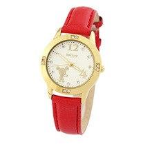 Disney марка дамы Кварцевые часы 30 м водонепроницаемый Женщина Микки Натуральная Кожа Алмазный Женские часы
