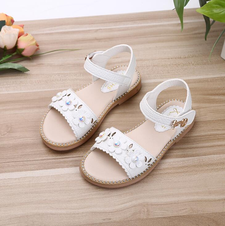 Girls Sandals Children Shoes 2019 New Summer Shoes Pearls Kids Sandals For Girls PU Leather Flowers Princess Shoes Girls Sandal