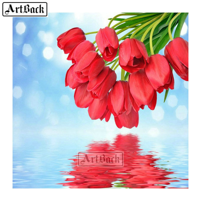 Tulip Diamond Painting Suite Full Square Drill Flower Rhinestone 3d Diamond Mosaic Home Decoration <font><b>FL11</b></font> image