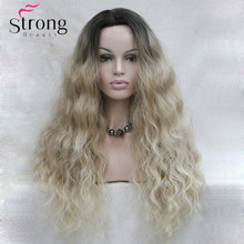Long Heat Resistant Blonde Ombre Wavy Lace Front Long Wig