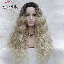 Long Heat Resistant  Blonde Ombre Wavy Lace Front Long Wig