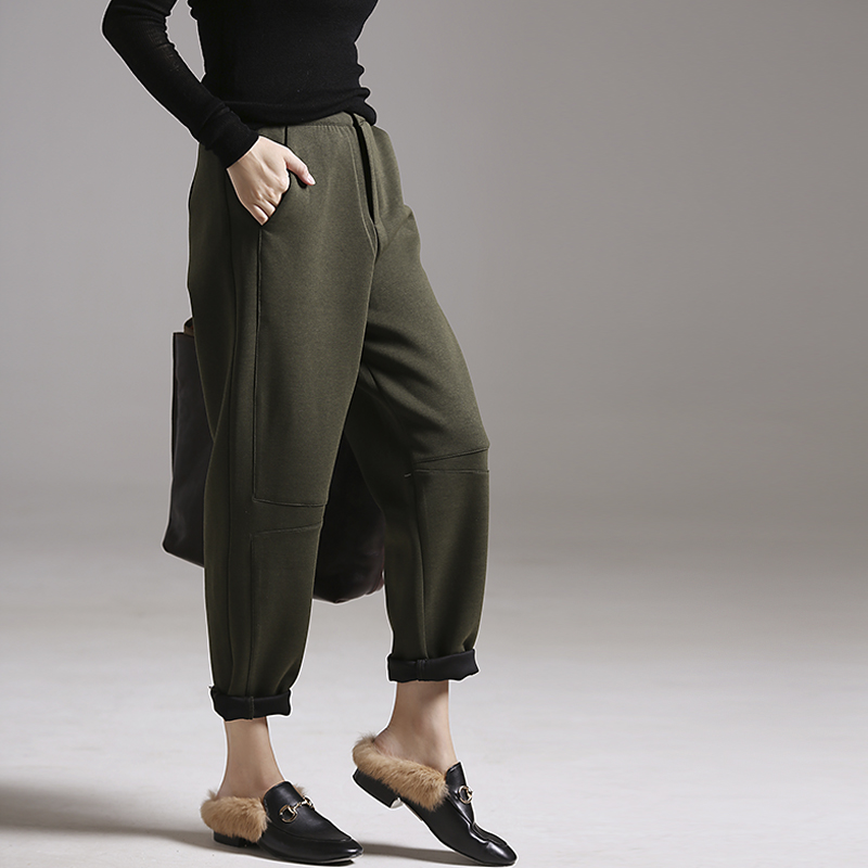K5579 Literary big code Korean version of simple stitching show thin casual pants