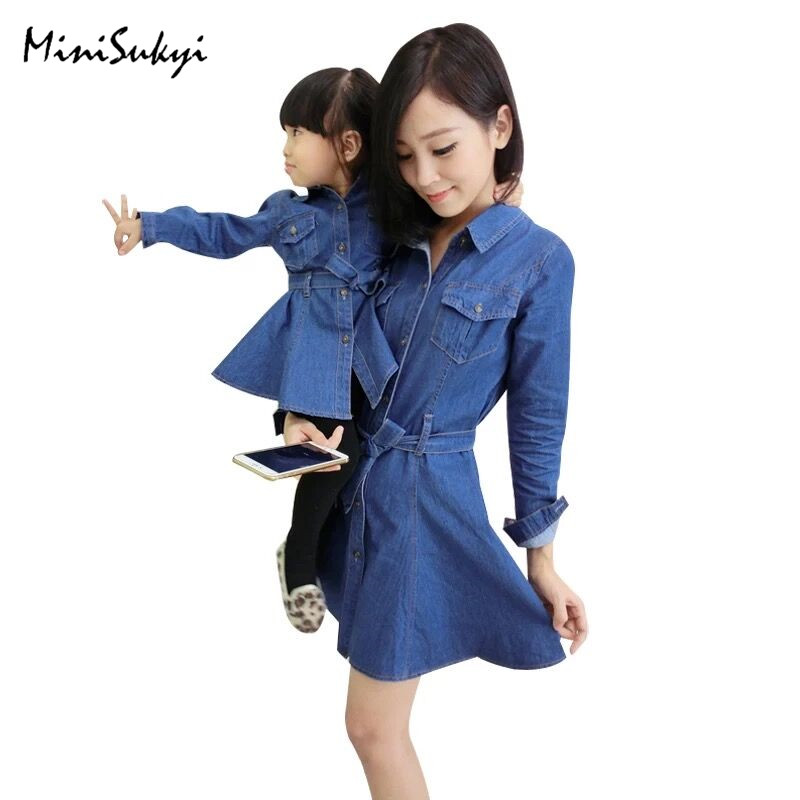 Family Matching Outfits Mother Daughter Dresses Clothes Long Sleeve Denim Dress Matching Dress Family Look