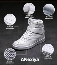 Akexiya New 2016 spring autumn ankle boots heels shoes women casual shoes height increased high top shoes for adults SIZE 35-40