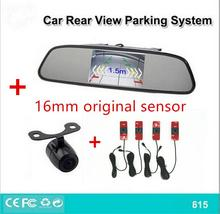 Car Video Reverse original 16mm Parking Sensor System Connect Rear view Camera Can Display Distance on 4.3″ Car Mirror Monitor