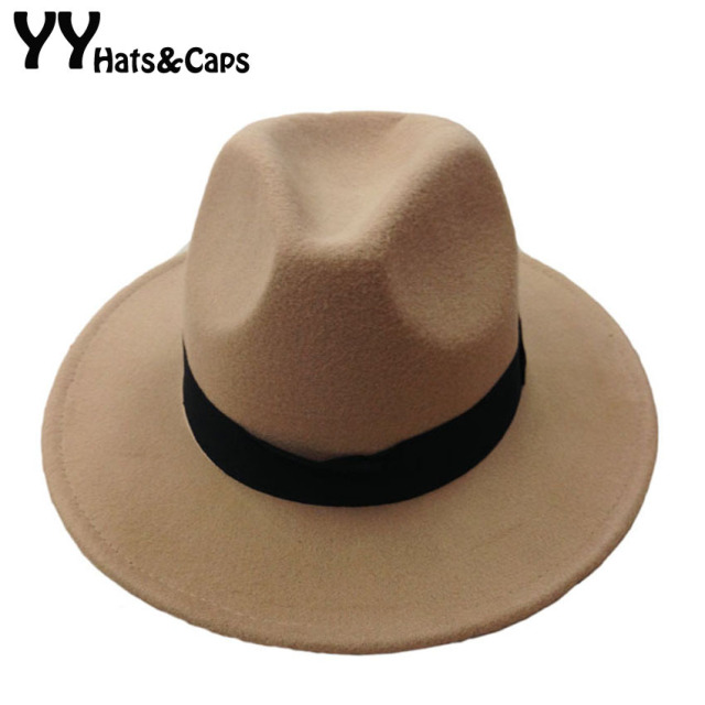 0da77657f3b Fashion Vintage Trilby Hats For Men Women Wool Fedoras Jazz Hat Wide Brim  with Black Ribbon