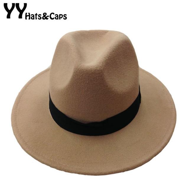 Moda Vintage sombrero sombreros para hombres de lana de las mujeres  sombreros de Jazz sombrero de 956df32d70d