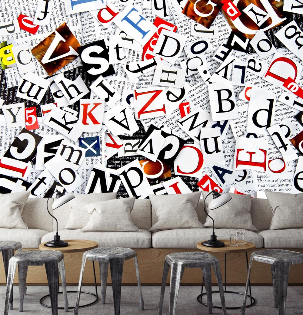 [Self-Adhesive] 3D Fashion Alphabet Newspaper 12 Wall Paper Mural Wall Print Decal Wall Murals