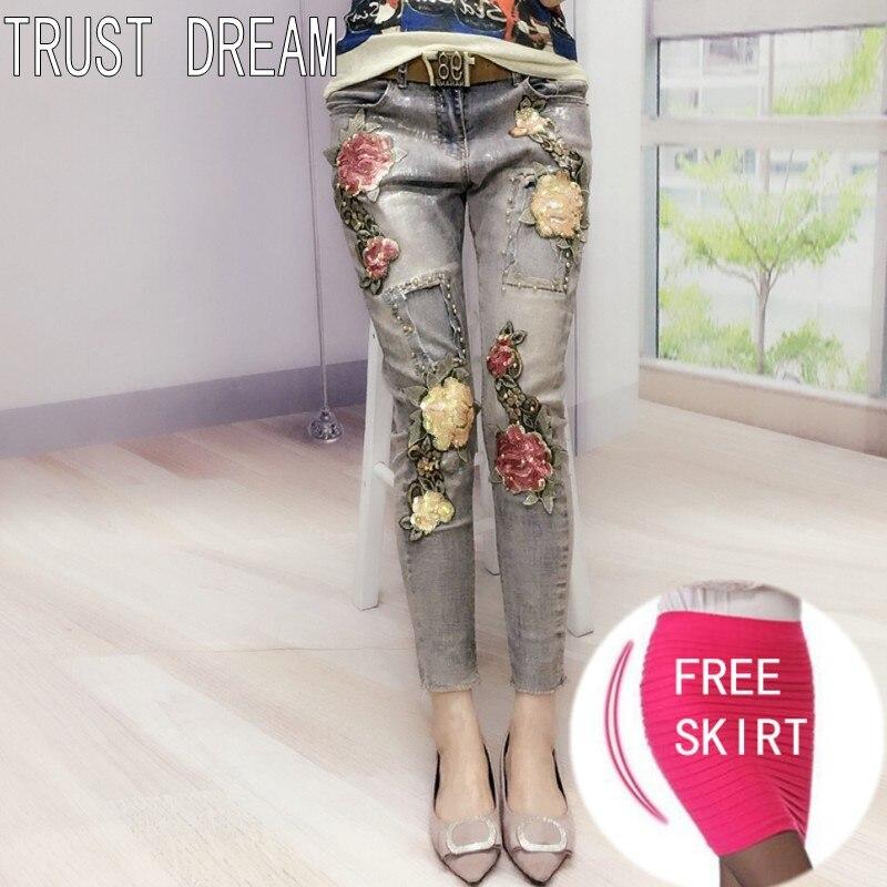 все цены на TRUST DREAM European Designed Women Slim Paint Beading Jeans Vintage Flower Patchwork Amazing Fashion Casual Female Jeans онлайн