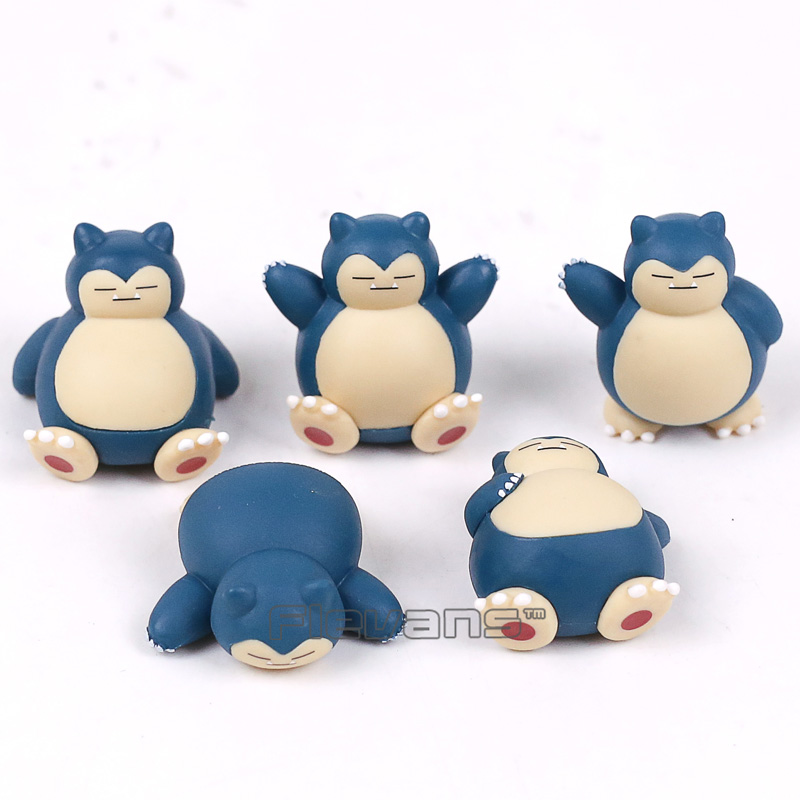 Cartoon Monster Snorlax Mini PVC Figures Toys Christmas Birthday Gift for Kids Childrens 5pcs/set 4cm