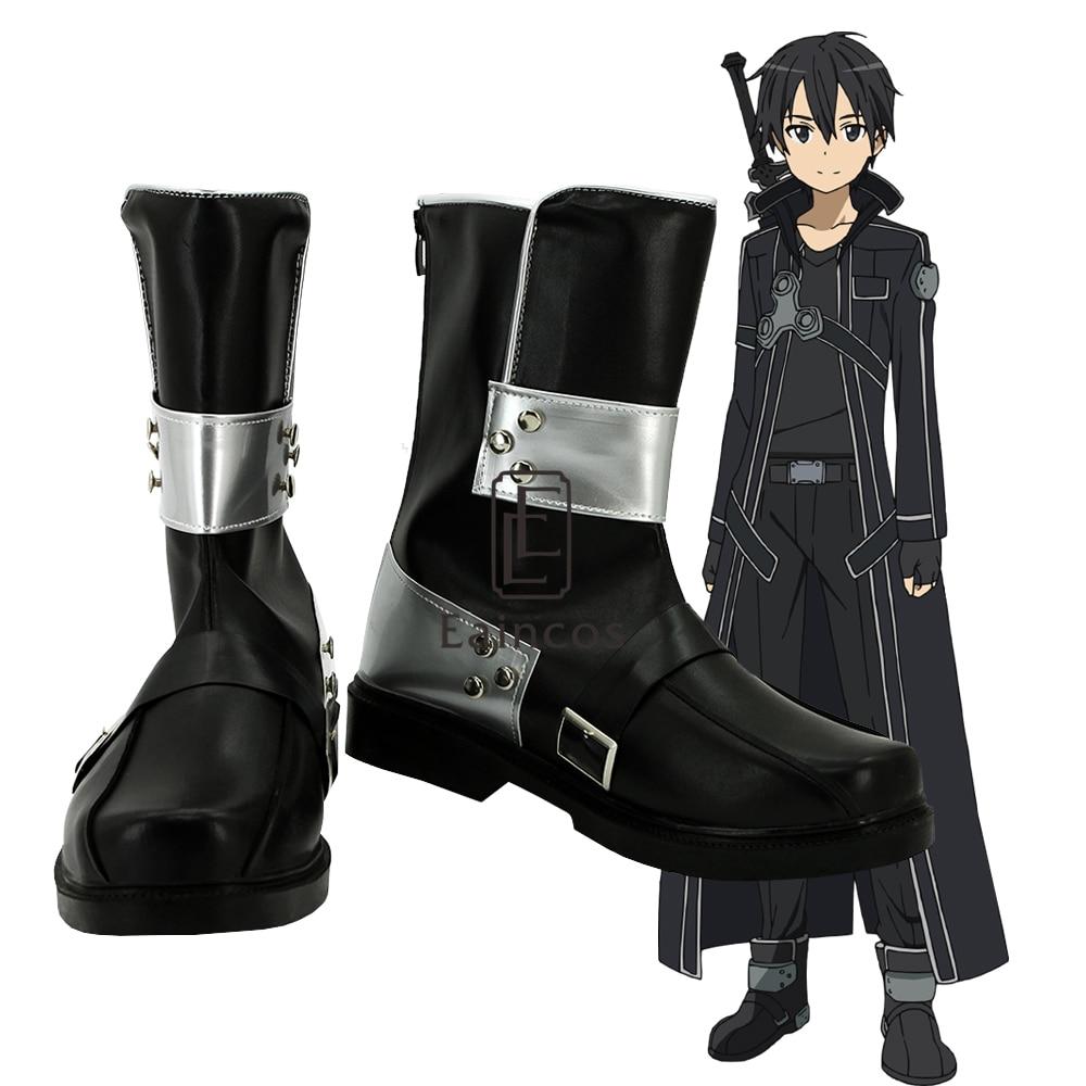 Anime Sword Art Online Kirigaya Kazuto Kirito Cosplay Shoes Black Boots Custom Made