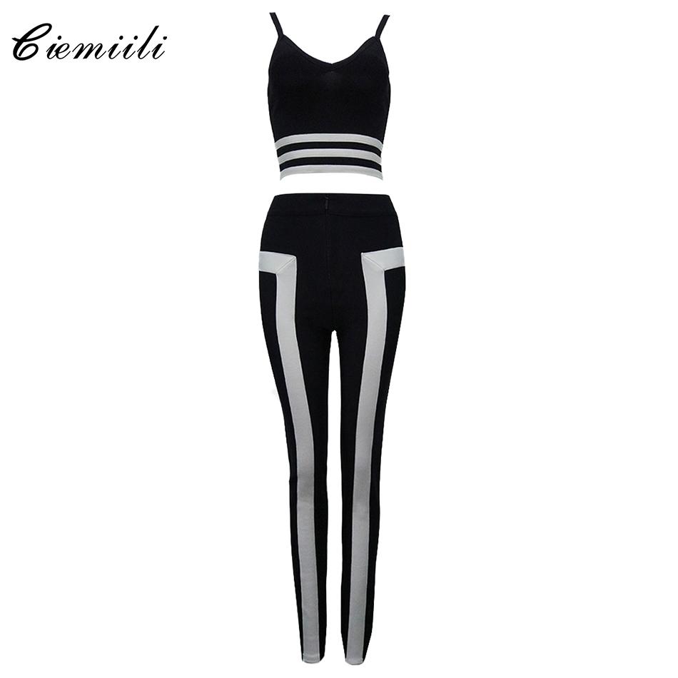 CIEMIILI 2017 Summer Women Runway Two Piece Set Bandage Jumpsuit Patchwork V-neck Elegant Lady Party Bandage Crop Top and Pants