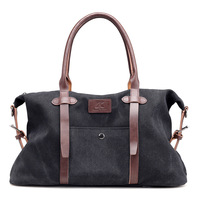 New Canvas & Leather Men Travel Bags Carry on Luggage Bags Men Duffel Bags Big Capacity Travel Tote Large Weekend Bag Black
