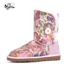 Top Quality 2018 New Genuine Sheepskin Leather Women Snow Boots 100% Natural Fur Winter Boots Warm Wool Boots Winter Shoes