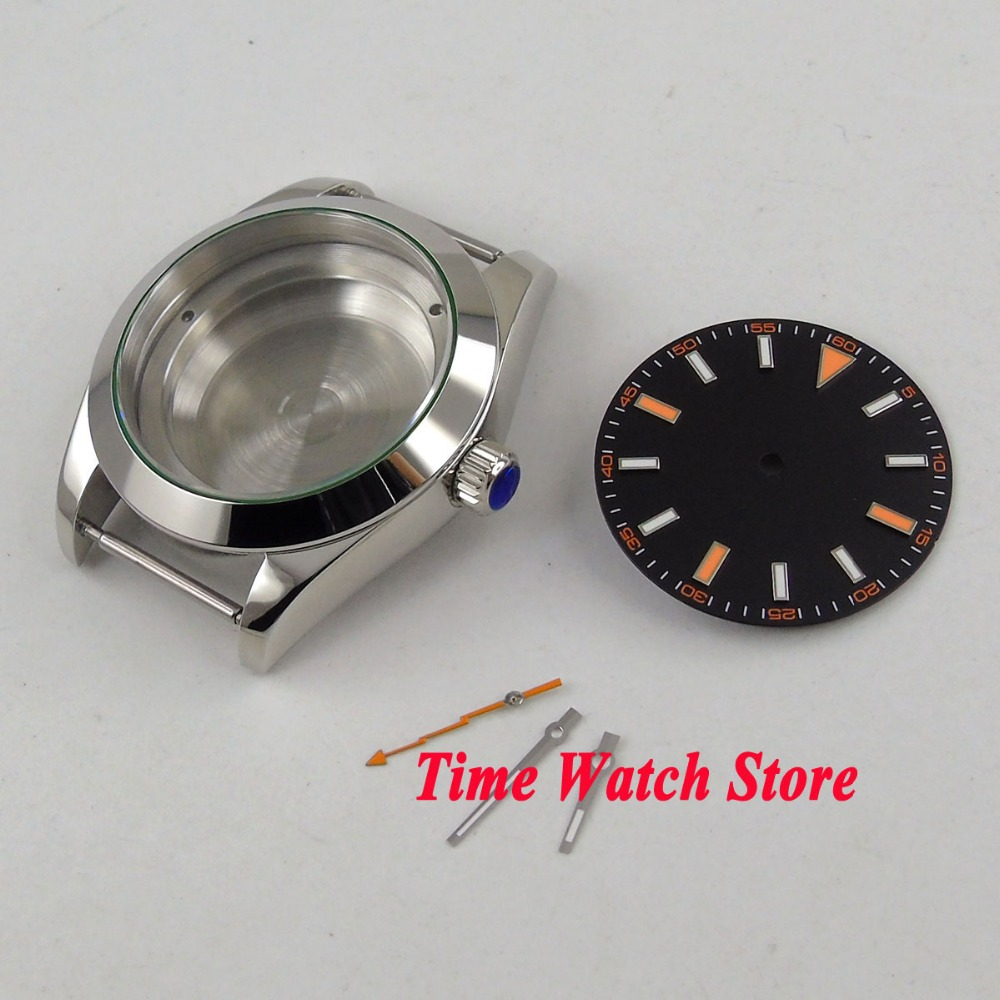 PARNIS 40mm polished 316L stainless steel watch case fit Miyota 8215 821A movement Dial hands C10
