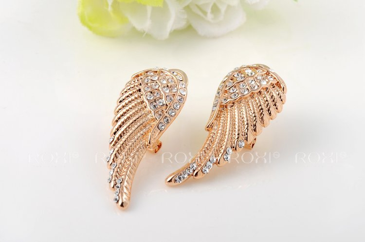 2017 Roxi Hiness Wing Rose Gold Stud Earrings Color Wedding Jewelry Mother S Gift In From Accessories On Aliexpress