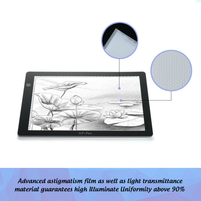 XP Pen A4S 18u2033 LED Art Craft Tracing Light Pad Light Box/ USB Light Table  Drawing Tablet With Paper Clips And Anti Fouling Glove