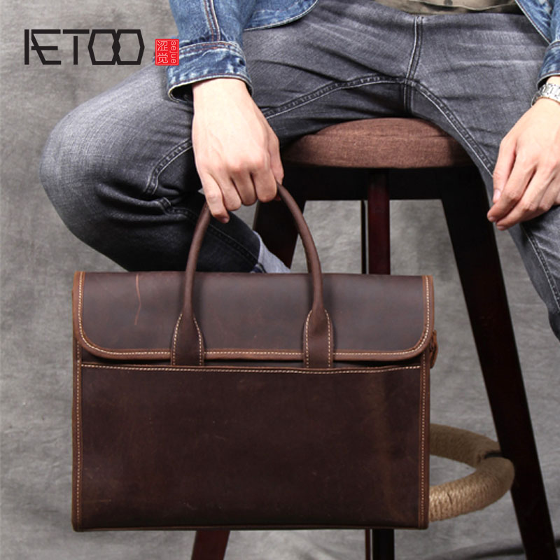 AETOO Retro casual first layer leather briefcase handmade original leather handbag male shoulder Messenger bag computer bag-in Crossbody Bags from Luggage & Bags    1