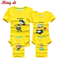 Ming Di Family T Shirts Summer Cartoon Minions Family Matching Clothes Father Mother Kids Children Outfits More Color Top Tees