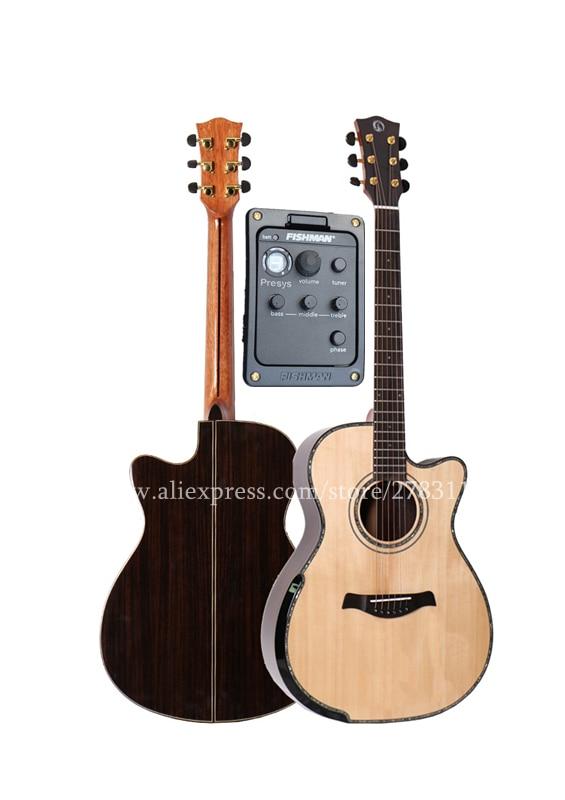 Profissional de Corte de 40 Guitarras Acústicas, Sólido Spruce Top/Rosewood Corpo Captador de guitarra eletrica Com LCD, Manoplas projeto