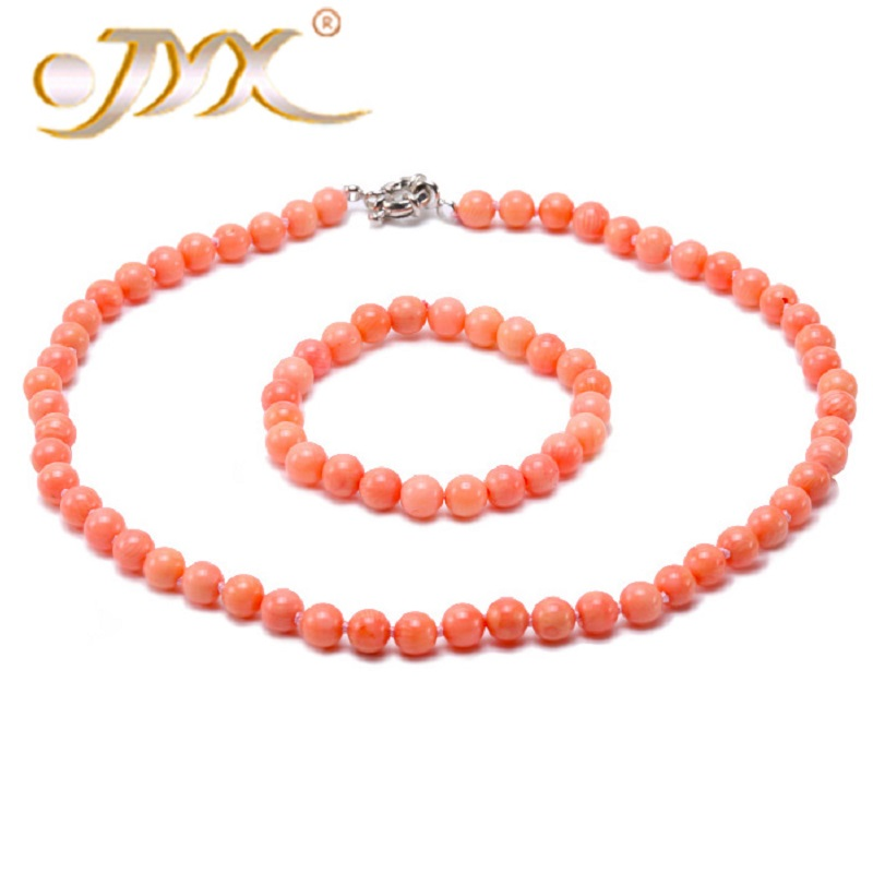 JYX 8mm Natural Pink Coral Necklace & Bracelet Set Hand Knotted stones gem beads necklace for women 18.5 hand knotted carpets of uttarakhand