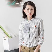INMAN 2017 Spring New Vintage Style Literary Style Printing Shirt Women Long Sleeves Pure Cotton Blouse