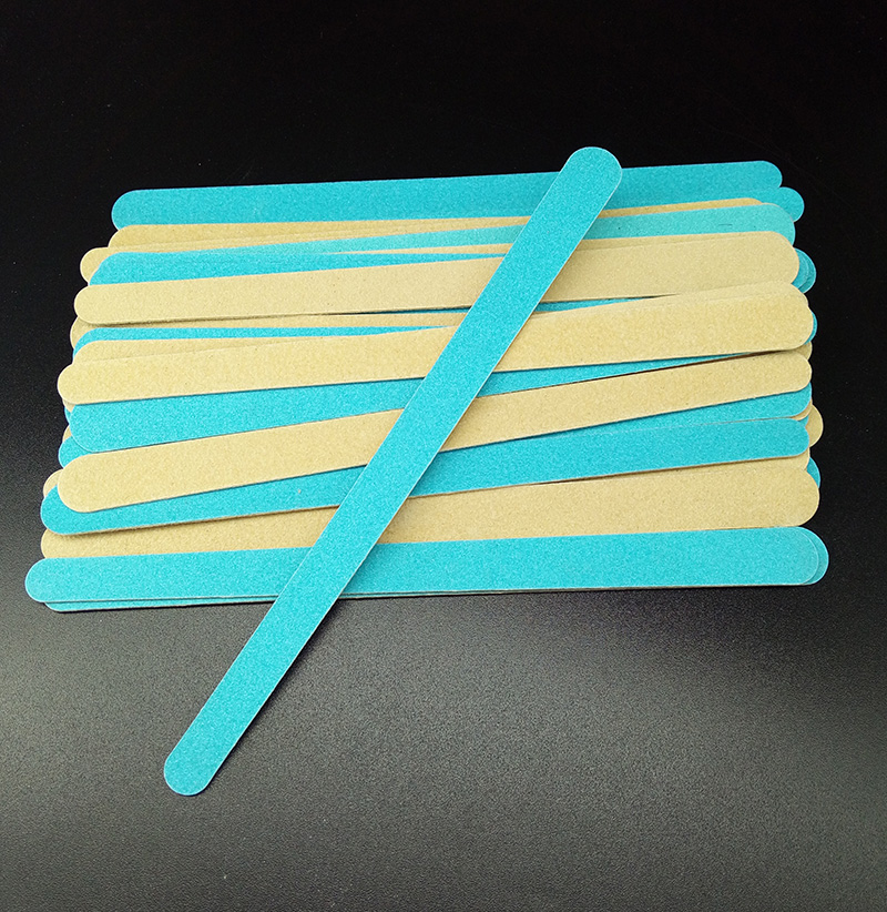 Promotional 100pcs double color 178mm nail files Blue Wooden wood Nail File 180 240 Disposable Manicure Tools in Nail Files Buffers from Beauty Health