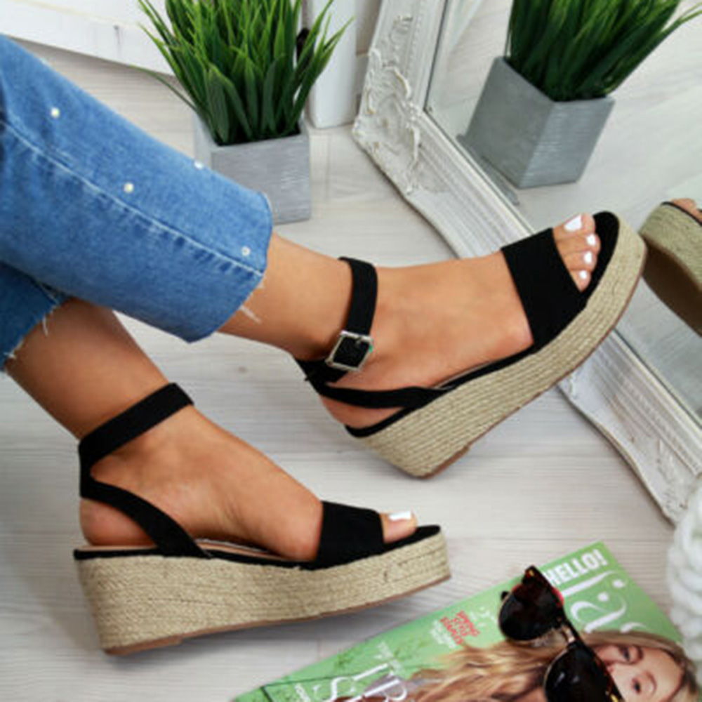 Oeak Strap Sandal Wedges-Shoes Platform Peep-Toe Casual Women Zapatos-De-Mujer