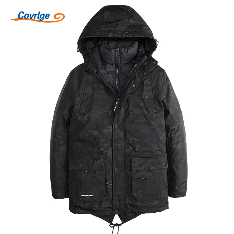 Covrlge 2017 New Mens Parkas Winter Thick Padded Parka Men Jacket Long Hooded Jackets Fashion Print Coats Two Piece Set MWM014