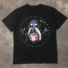 New High 2017 Men Punk High Rottweiler rhinestone Dog Fashion Shirts Shirt Hip Hop Skateboard Cotton Top Tee #375