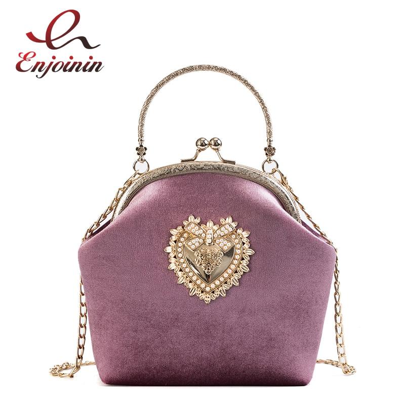 Lady Velvet Heart-Shaped Badge Fashion Casual Ladies Shell-Type Handbag Shoulder Bag Party Purse Crossbody Mini Messenger Bag