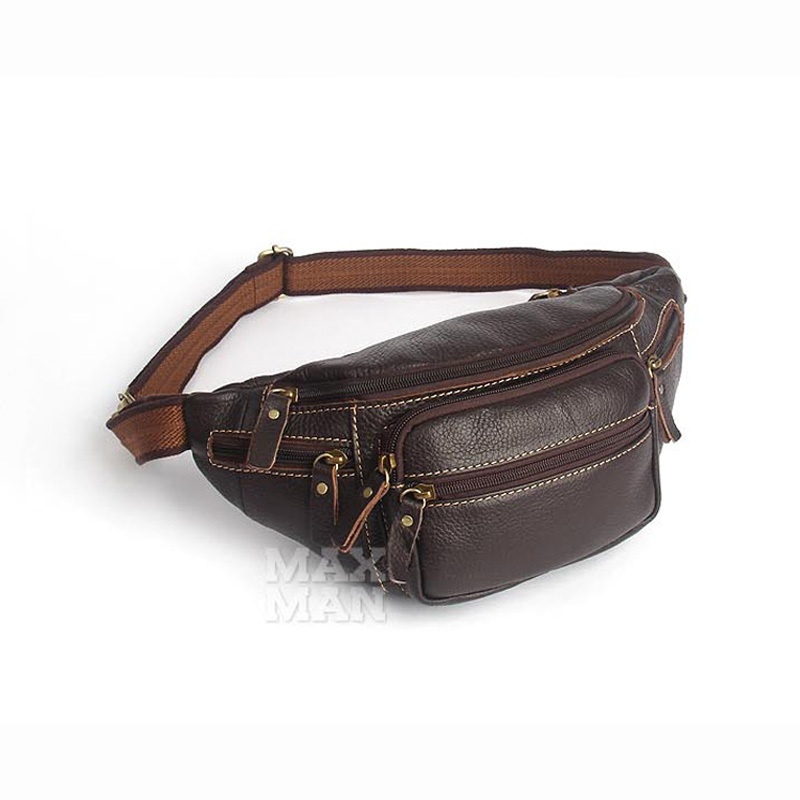 Genuine Leather Waist Packs Fanny Pack Belt Phone Pouch Bags Travel Waist Pack Male Small Waist Bag 2018 new coffee brown stylish zinc alloy cowhide waist decoration keychain brown coffee