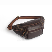 Genuine Leather Waist Packs Fanny Pack Belt Phone Pouch Bags Travel Waist Pack Male Small Waist Bag 2018 new coffee brown