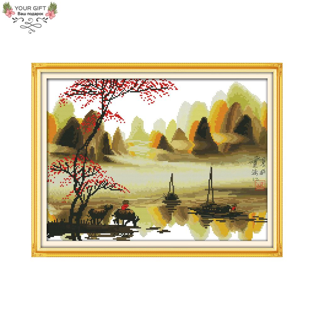 Joy Sunday F743(2) Free Shipping Counted and Stamped Home Decor Poetic Lijiang Li River China Embroidery Cross Stitch Kits