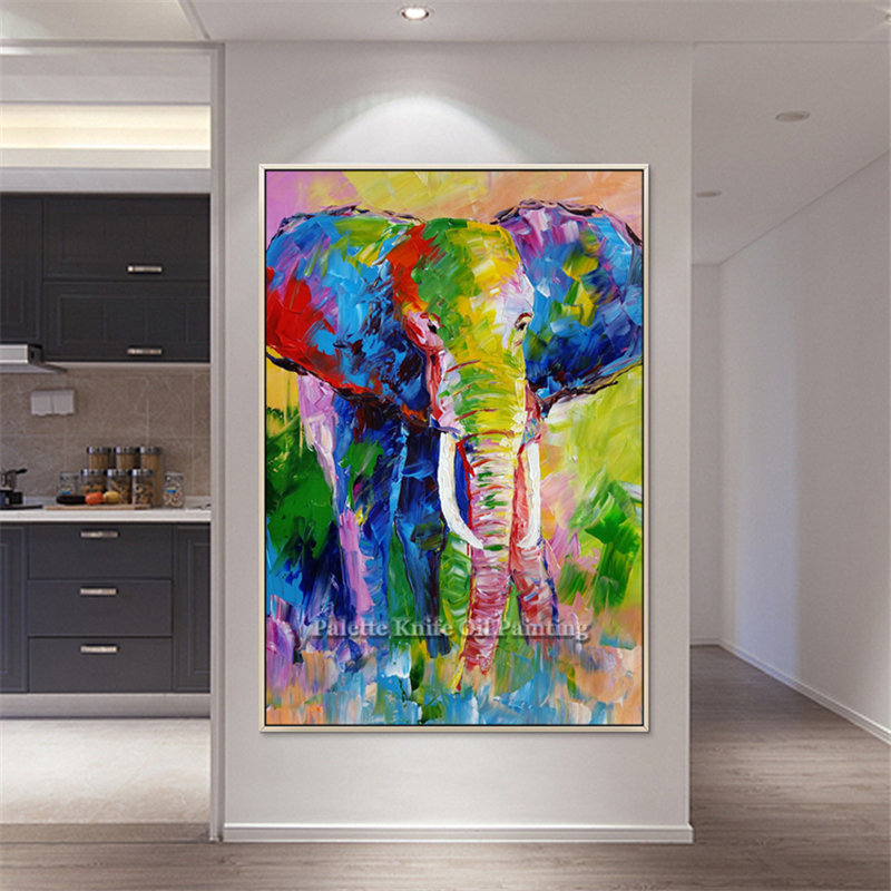 Canvas oil painting Pop art elephant Wall art wall Pictures For Living Room home decor quadro caudros decoracion abstract naimal