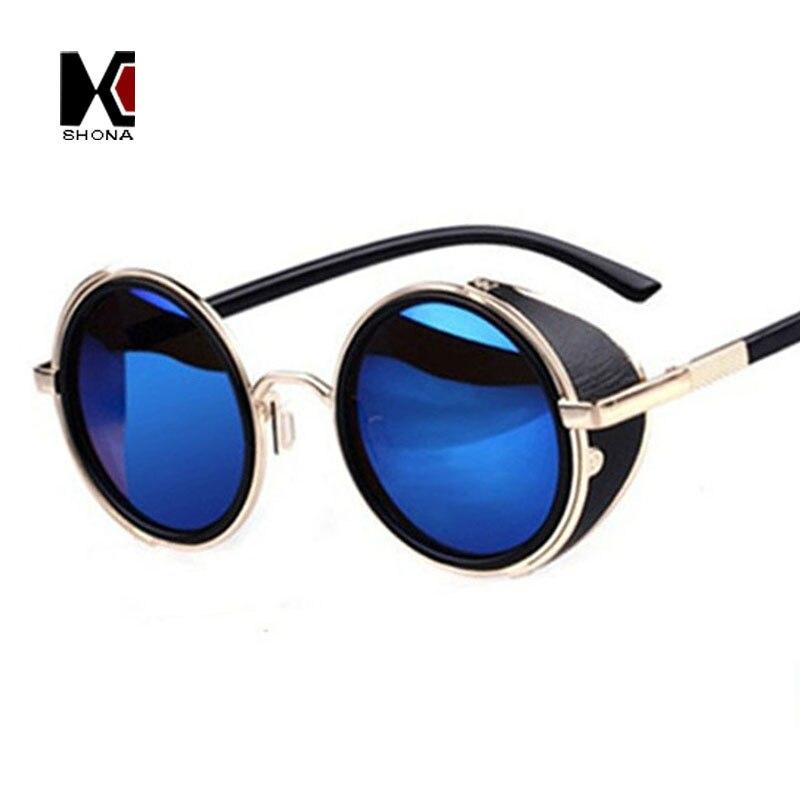 SHAUNA Vintage Frauen Steampunk Retro Beschichtung Männer Runde Sonnenbrille Marke Designer Punk Sonnenbrille UV400