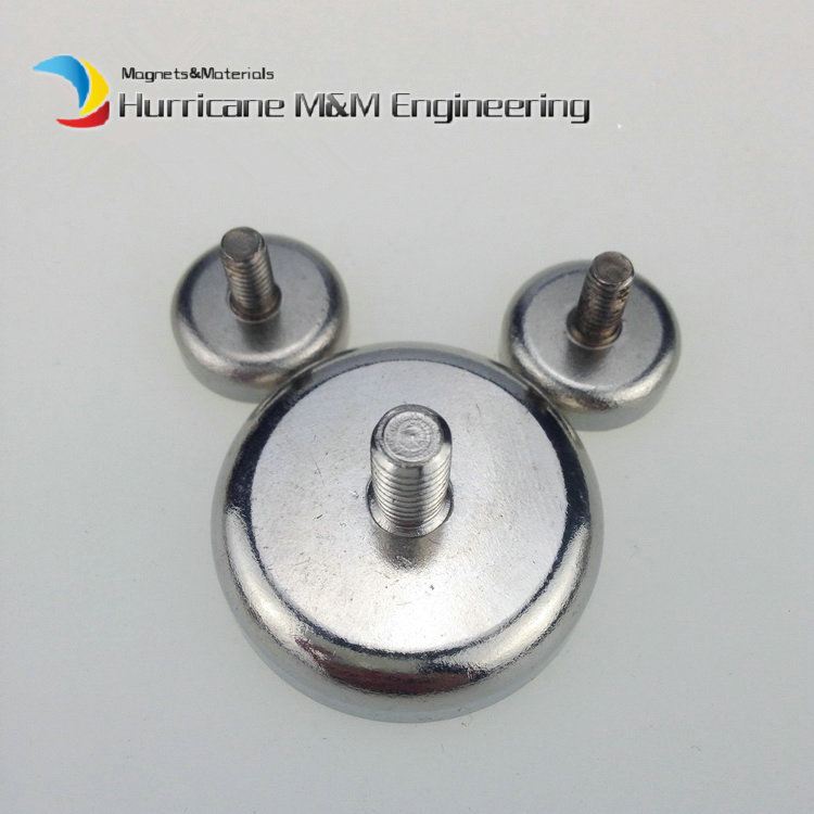 Mounting Magnet Diameter 48mm 60kg Clamping Pot Magnet Male Thread Neodymium Lifting Magnet Strong Holding Magnet 10pcs 1 pack mounting magnet diameter 12 mm clamping pot magnet with steel hook neodymium lifting magnet strong magnet lathed cup