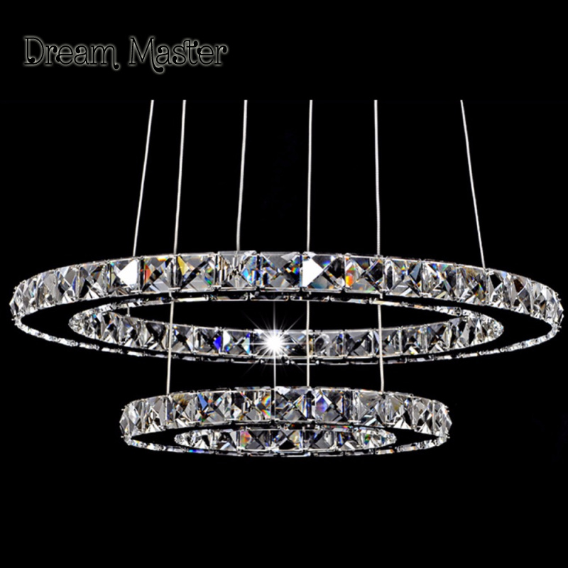 Diamond Crystal Ring LED Chandelier Crystal Lamp Modern Crystal Light Fixture Circle Hanging Lustres LED Luminaire Home Lighting led modern chandelier light led circle ring chandelier for home living lighting dimmable and nondimmable ac85 265v free freight