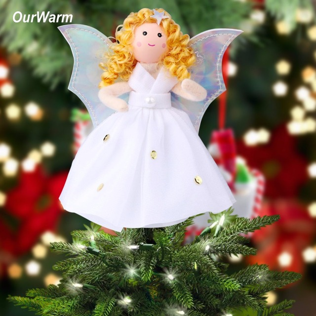 ourwarm christmas angel christmas tree toppers guardian angel decorations kids new year gifts 2018 christmas tree - Christmas Angel Decorations