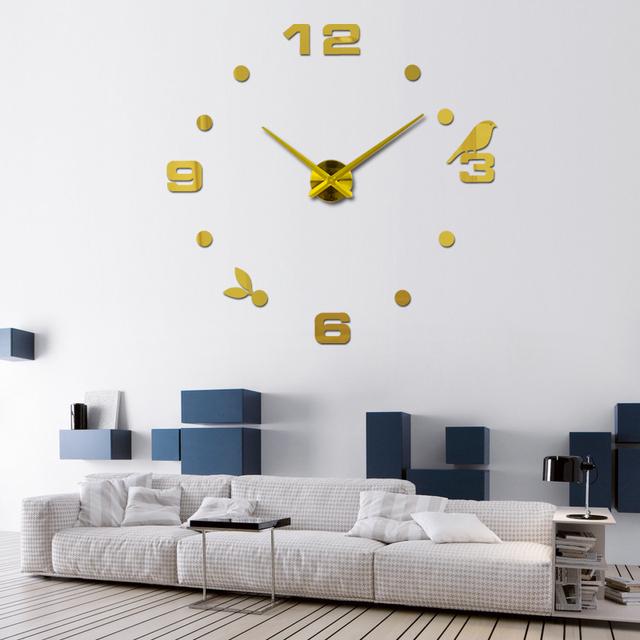 2017 new sale home decorations 3d Acrylic mirror stickers clocks Quartz Needle living room diy wall clock watch