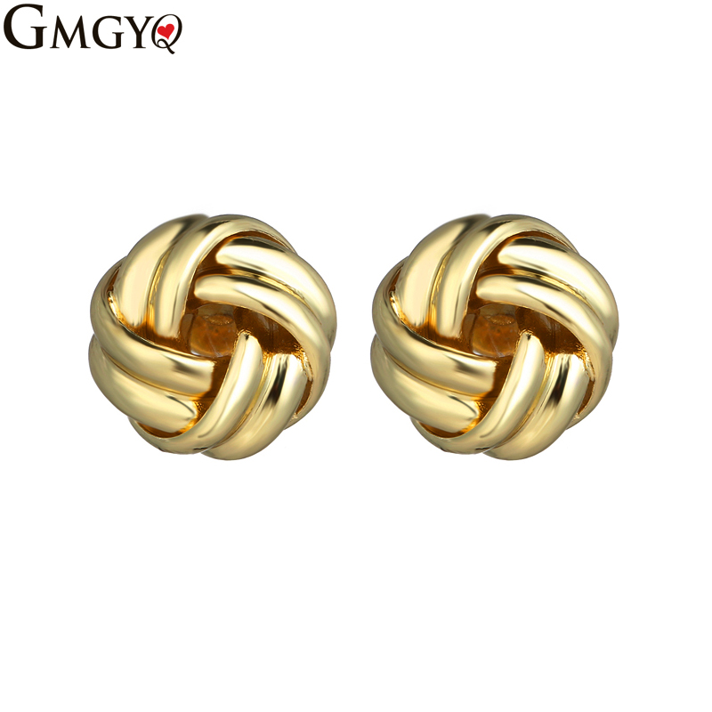 GMGYQ Non Inlaid Ear Nail Button Knot Gold Stud Earrings For Women Fashion Minimalist Jewelry Small Earrings Accessoires